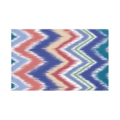 Ikat-arina Chevron Print Throw Blanket Size: 60 L x 50 W, Color: Blue Coral (Green/Red)