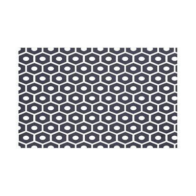 Honeycomb Pop Geometric Print Throw Blanket Size: 60 L x 50 W, Color: Navy Blue