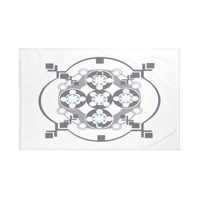 "Bandana-Rama Geometric Print Throw Blanket Size: 60"" L x 50"" W, Color: Paloma (Light Gray/Dark Gray)"
