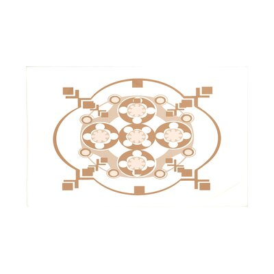 "Bandana-Rama Geometric Print Throw Blanket Size: 60"" L x 50"" W, Color: Caramel (Off White/Brown)"