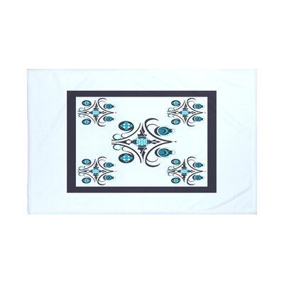 Hanky Geometric Print Throw Blanket Size: 60 L x 50 W, Color: Washed Out (Light Blue/Navy Blue)