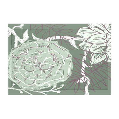 Flowers and Fronds Floral Print Throw Blanket Size: 60 L x 50 W, Color: Herb Green (Green/Purple)