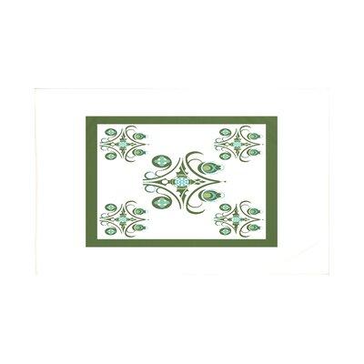 Hanky Geometric Print Throw Blanket Size: 60 L x 50 W, Color: Mistletoe (Off White/Green)