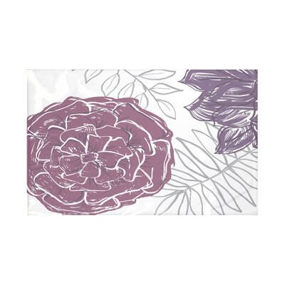 Flowers and Fronds Floral Print Throw Blanket Size: 60 L x 50 W, Color: Larkspur (Purple)