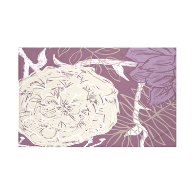 Flowers and Fronds Floral Print Throw Blanket Size: 60 L x 50 W, Color: Plum (Purple/Taupe)