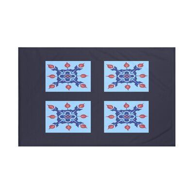 Four Square Geometric Print Throw Blanket Size: 60 L x 50 W, Color: Sky (Navy Blue/Blue)