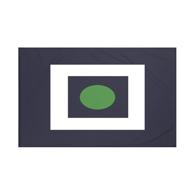 Square Peg Round Circle Geometric Print Throw Blanket Color: Leaf Green (Navy Blue/Green), Size: 60 L x 50 W