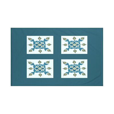 Four Square Geometric Print Throw Blanket Size: 60 L x 50 W, Color: Deep Sea (Teal)
