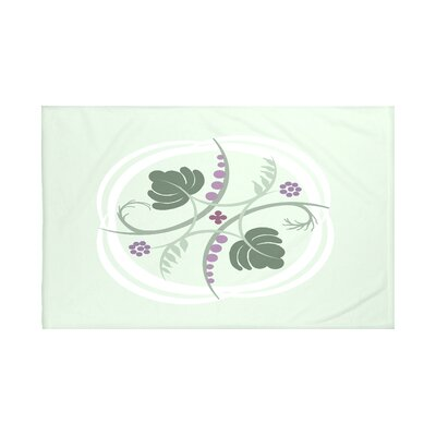 Poetry in Motion Floral Print Throw Blanket Size: 60 L x 50 W, Color: Half Pint (Green/Purple)