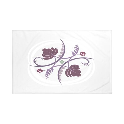 Poetry in Motion Floral Print Throw Blanket Size: 60 L x 50 W, Color: Bordeaux (Light Gray/Purple)