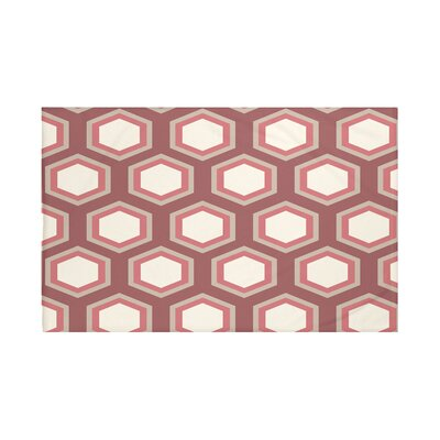"""Hex Appeal Geometric Print Throw Blanket Size: 60"""" L x 50"""" W, Color: Mahogany (Rust/Taupe)"""