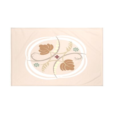 Poetry in Motion Floral Print Throw Blanket Size: 60 L x 50 W, Color: Almond Butter (Taupe/Rust)