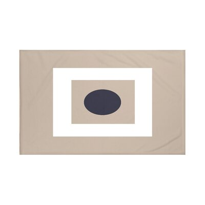 Square Peg Round Circle Geometric Print Throw Blanket Size: 60 L x 50 W, Color: Flax (Taupe/Navy Blue)
