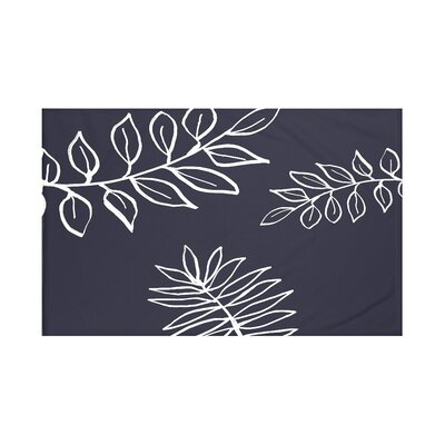 My Best Frond Floral Print Throw Blanket Size: 60 L x 50 W, Color: Bewitching (Navy Blue/Off White)