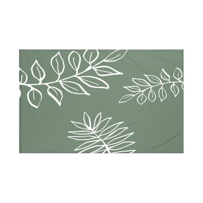 My Best Frond Floral Print Throw Blanket Size: 60 L x 50 W, Color: Herb Green (Green/Off White)