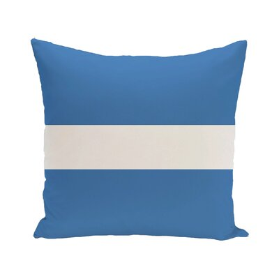Narrow the Gap Stripe Print Outdoor Throw Pillow Color: Azure, Size: 18 H x 18 W x 1 D