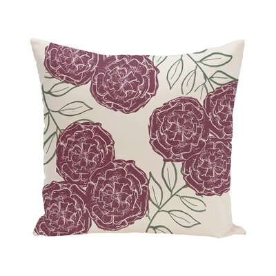 Broad Brook Mums the Word Floral Print Outdoor Pillow Color: Passion Flower, Size: 16 H x 16 W x 1 D