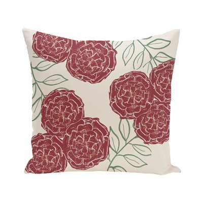 Mums the Word Floral Print Outdoor Pillow Size: 20 H x 20 W x 1 D, Color: Brick