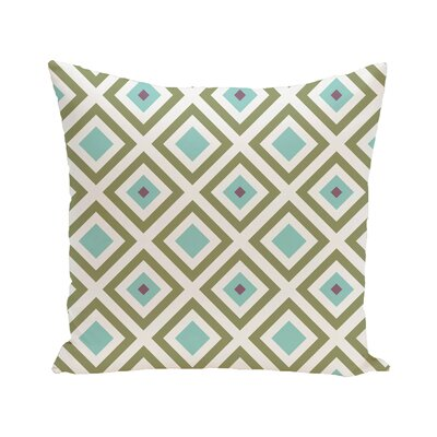 Diamond Mayhem Geometric Print Outdoor Pillow Color: Aqua, Size: 18 H x 18 W x 1 D