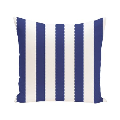 Stitch in Time Stripes Print Outdoor Pillow Color: Blue Suede, Size: 16 H x 16 W x 1 D