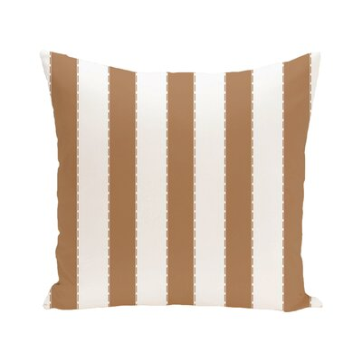 Stitch in Time Stripes Print Outdoor Pillow Color: Caramel, Size: 18 H x 18 W x 1 D