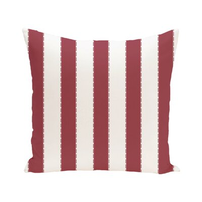 Stitch in Time Stripes Print Outdoor Pillow Size: 18 H x 18 W x 1 D, Color: Brick
