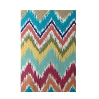 Ikat-arina Stripe Print Caribbean Indoor/Outdoor Area Rug Rug Size: Rectangle 3 x 5