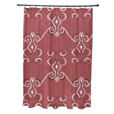On the Line Geometric Print Shower Curtain Color: Burnt