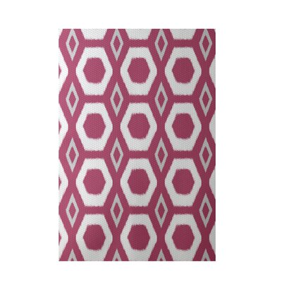 More Hugs and Kisses Geometric Print Magenta Indoor/Outdoor Area Rug Rug Size: 5 x 7