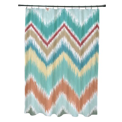 Ikat-Arina Chevron Print Shower Curtain Color: Jade