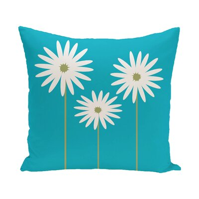 Daisy May Floral Print Outdoor Throw Pillow Size: 18 H x 18 W x 1 D, Color: Caribbean