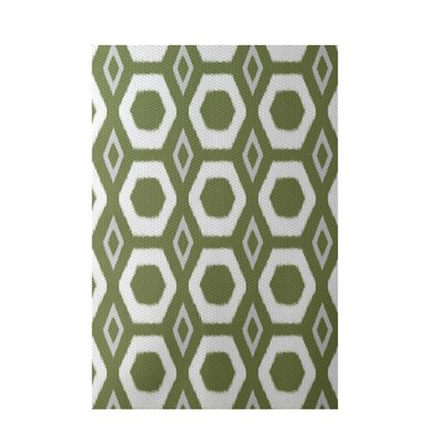More Hugs and Kisses Geometric Print Olive Indoor/Outdoor Area Rug Rug Size: 2 x 3