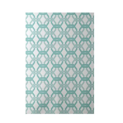 Were All Connected Geometric Print Aqua Indoor/Outdoor Area Rug Rug Size: 3 x 5
