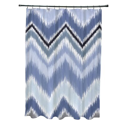 Ikat-Arina Chevron Print Shower Curtain Color: Cadet