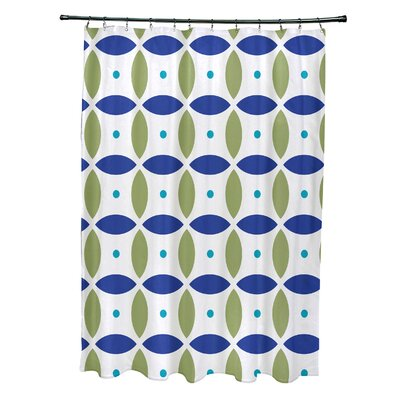 Beach Ball Geometric Print Shower Curtain Color: Dazzling Blue