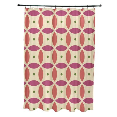 Beach Ball Geometric Print Shower Curtain Color: Soft Lemon