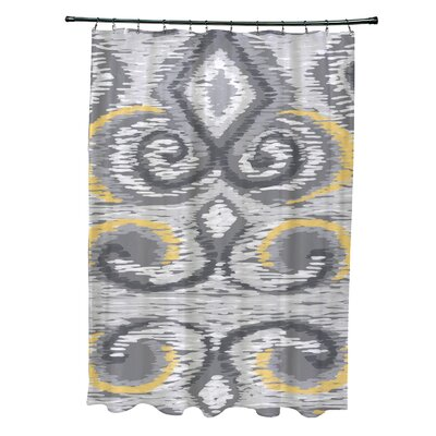 Ikats Meow Geometric Print Shower Curtain Color: Paloma