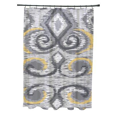 Ikats Meow Geometric Print Shower Curtain Color: Paloma