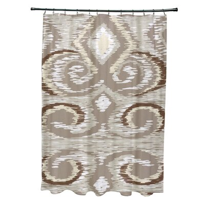 Ikats Meow Geometric Print Shower Curtain Color: Flax
