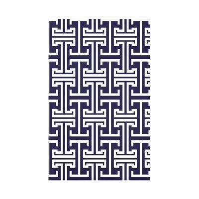 Greek Isles Geometric Print Polyester Fleece Throw Blanket Size: 60 L x 50 W x 0.5 D, Color: Spring Navy