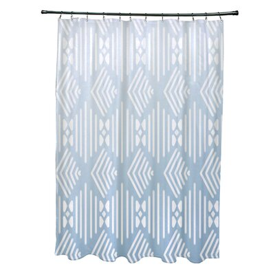 Fishbones Geometric Print Shower Curtain Color: Washed Out
