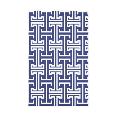 Greek Isles Geometric Print Polyester Fleece Throw Blanket Size: 60 L x 50 W x 0.5 D, Color: Blue Suede