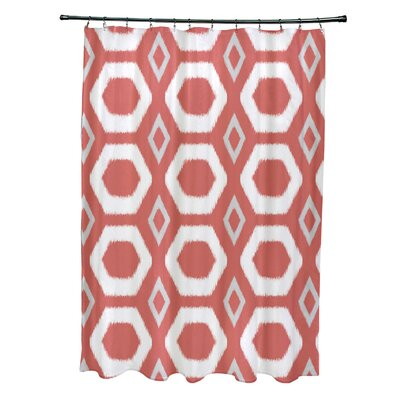 More Hugs and Kisses Geometric Print Shower Curtain Color: Seed