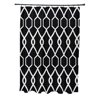 Charleston Geometric Print Shower Curtain Color: Raven