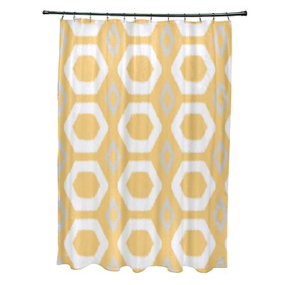 More Hugs and Kisses Geometric Print Shower Curtain Color: Lemon