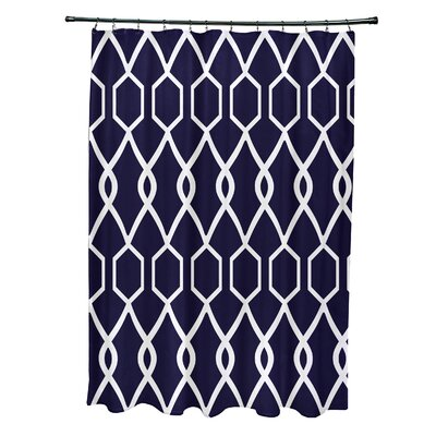 Charleston Geometric Print Shower Curtain Color: Spring Navy