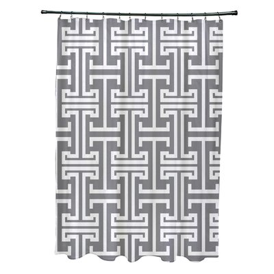 Greek Isles Geometric Print Shower Curtain Color: Classic Gray