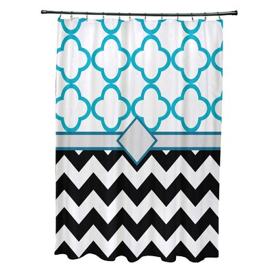 Express Line Geometric Print Shower Curtain Color: Raven