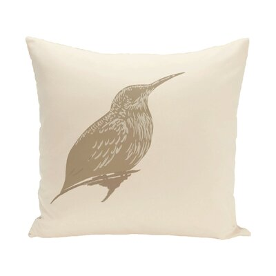 Colibri Print Throw Pillow Size: 16 H x 16 W x 1 D, Color: Brown