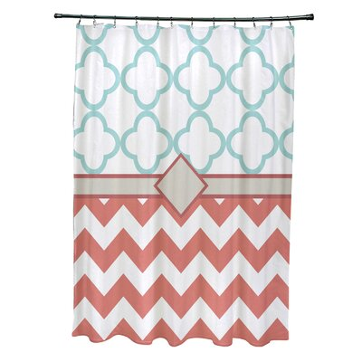 Express Line Geometric Print Shower Curtain Color: Seed